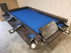 KremaDesigns Custom 8 Player Game Vault Table - any size, wood & stain. Removable hardtop, high quality felt, pullout desks & cup holders for each player. Ultimate DND RPG Roleplaying and Card Table. Board Game Table, Table Games, Board Games, Game Tables, Gaming Table Diy, Gaming Room Setup, Custom Home Bars, Custom Homes, Pool Table Felt