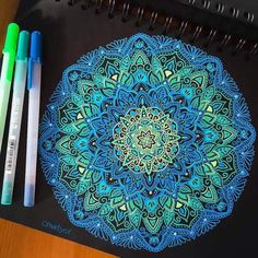 mandala, art, and arte kép Art Journal Inspiration, Cool Art Drawings, Mandala, Black Paper Drawing, Gel Pen Art, Mandala Design Art, Line Doodles, Doodle Art Drawing, Art