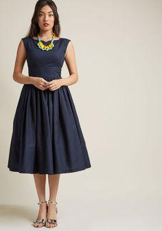 Fabulous Fit and Flare Dress with Pockets in Navy - The perfect retro treasure can be hard to come by - luckily, your style sense led you right to this navy blue fit and flare! A vintage-inspired offering from our ModCloth namesake label, this cotton midi lends its notched bateau neckline, gathered waist, and hidden pockets to filling every moment with merriment.