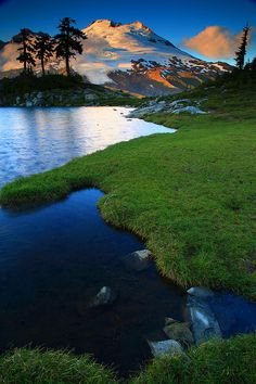 Sunset Reflected in a Tarn From Park Butte in Mount Baker National Recreation Area, Washington State