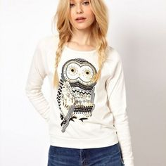 Fashion Rhinestone Owl Printed Sleeve Sweater for only $27.99 ,cheap Sweaters & Cardigans - Clothing & Apparel online shopping,Fashion Rhinestone Owl Printed Sleeve Sweater are our protection of God.