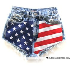 Runawaydreamz shorts High waisted. Vintage american flag. Sized medium.not worn like new. Selling for $150 on Mērcari.  High waisted jean shorts with American flog on the front Runawaydreamz Jeans