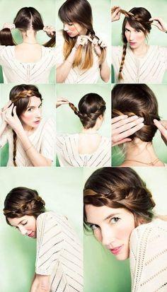 El paso a paso de un peinado de novia con trenza diadema