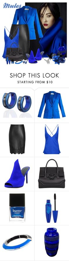 """""""Slip 'em on - Mules  #mules"""" by lorrainekeenan ❤ liked on Polyvore featuring West Coast Jewelry, MaxMara, Dion Lee, Kendall + Kylie, Versace, Butter London, Maybelline and Miriam Salat"""