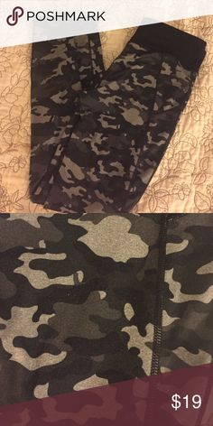 Fabletics Black and a White Camo Tights Good condition and super cute! Fabletics Pants Leggings