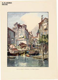 Partie am Pregel in Königsberg.« Partie am Pregel, Blick vom Fluss aus auf…