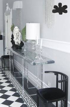 Acrylic interiors - Acrylic console table lucite - CONSOLLE IN PLEXIGLASS | Consolle in plexiglass 08.mod.M8   | Consolle plexiglass cm.240 x 40 h.90 - telaio e gambe sp.mm.50 #lucite #design #homedecor #acrylic