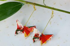 Red poppy and gold butterfly origami earrings - Japanese jewelry set washi chiyogami paper jewelry dangling earrings Oriental gift for her