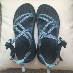 Chacos These chacos are a kids size 5 but listed as a women's 7 because they fit perfectly fine and I'm around 7 / and 7 1/2. They are in perfect condition but I'm looking to buy different ones! They are blue purple and white striped. Please MAKE ME OFFERS price is ALWAYS negotiable Chacos Shoes Sandals