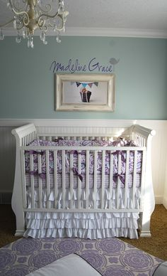 Crib- purple and robins egg blue