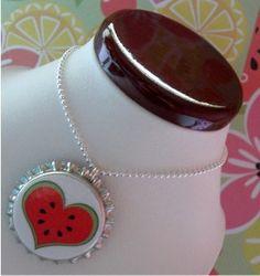 Watermelon Love Bottle Cap Pendant