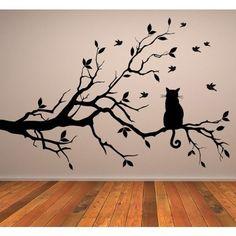 Gato En Rama de Arbol Pegatina de Pared. Arte de Pared Animal disponible en 5 tamaños y 25 colores Pequeño Negro