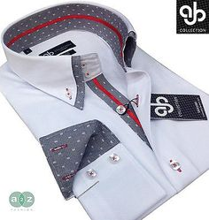 New Mens Formal Smart, White, Grey, Red Double Collar Italian Slim Fit Shirt in Clothes, Shoes & Accessories, Clothes, Shoes & Accessories   eBay