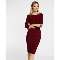 Express Zip Back Ribbed Sheath Dress (92 CAD) ❤ liked on Polyvore featuring dresses, purple, 3/4 sleeve dress, 3/4 sleeve sheath dress, v neck midi dress, express dresses and sheath dress
