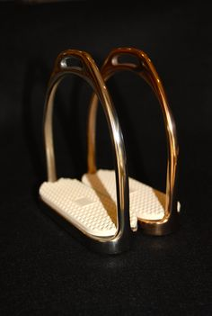 Rose Gold, Gold or Platinum Plated Stirrups (Rose Gold and Gold shown in photo)
