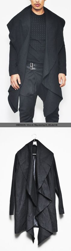 Outerwear :: Jackets :: Detachable Oversize Wing Collar Long-Jacket 57 - Mens Fashion Clothing For An Attractive Guy Look