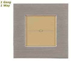 GLSTouch Designer Silver & Gold Brushed Aluminium Touch Light Switch (On/Off) 1 Gang 1 Way
