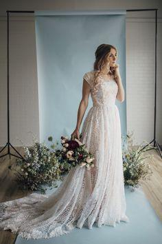 Hazel gown by Elizabeth Cooper Design | Photo by Cassandra Farley Photography | modest wedding dress | wedding dress with sleeves | ballgown | aline | sheath | lace wedding dress | wedding gown | lace | blush wedding dress | modest |