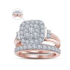 14K Rose Gold FN in 925 Silver Ladies Spl Engagement Bridal Set W/ Free Engraved