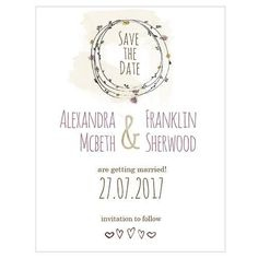 Natural Charm Save The Date Card (Pack of 1)