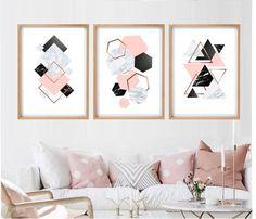 Set of 3 geometric prints pink marble gray rose gold Printable wall art set Digital Prints modern abstract art Living Room Ideas Rose Gold, Rose Gold And Grey Bedroom, Pink Master Bedroom, Marble Bedroom, Bedroom Black, Room Ideas Bedroom, Bedroom Wall, Bedroom Decor, Pink Canvas Art