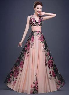 Vestido Floral Alça Baile Festa Formatura Longo Plus Size - R$ 389,00