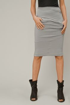 yes.  HUMANOID jersey skirt and cave peep toe bootie.