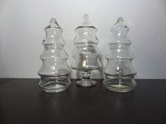 Vintage Set of 3 Anchor Hocking Clear Glass Christmas Tree Shaped Decanters/Apothecary/Storage Jars with Lids by DaysLongGoneSalvage on Etsy