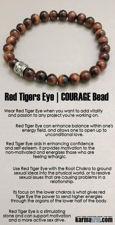 #Red #Tigers Eye is a stimulating stone and can support motivation and a more active #sex drive.♛ #BEADED #Yoga #BRACELETS #Chakra #gifts #Stretch #Womens #jewelry #Crystals #Energy #gifts #Handmade #Healing #Kundalini #Law #Attraction #LOA #Love #Mala #Meditation #prayer #Reiki #mindfulness #wisdom #Fashion #birthday #Spiritual #Tony #Robbins #Stacks #Lucky #Fertility #Mens #him #BoHo #Beach #Surf #Charm #Macrame #Buddhist #Eckhart #Tolle