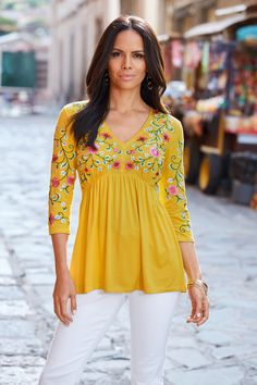 Intricately embroidered vines wind across the bust and sleeves of this beautifully boho top with pops of pink florals. Created with a youthful babydoll shape, try it with cuffed denim or twill shorts for laidback weekends. Tunic Tank Tops, Lace Wrap, Embellished Top, Boho Tops, Lace Sleeves, Baby Dolls, Long Sleeve Tops, Boho Fashion, Floral Tops