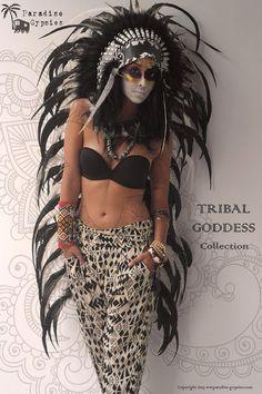 LONG Tribal Goddess Collection Full Black White door ParadiseGypsies, $220.00