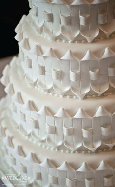 Bobbette and Belle created a four-tiered vanilla cake with passion fruit buttercream, covered in fondant. White Wedding Cakes, Beautiful Wedding Cakes, Gorgeous Cakes, Pretty Cakes, Amazing Cakes, Gateaux Cake, Just Cakes, Fancy Cakes, Pink Cakes