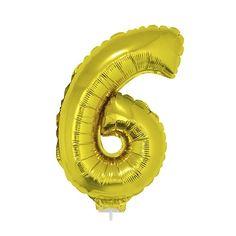 Gouden opblaas cijfer 6 op stokje 41 cm. Gouden cijfer 6 van ongeveer 41 cm. Incl. stokje. Door middel van het ballonstokje kun je de cijfers in een ondergrond plaatsen. Alleen geschikt voor lucht.