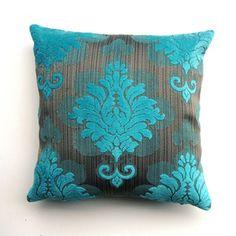 Aqua Damask pillow