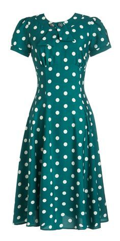 Teal & white | retro / vintage style dress with short sleeves, polka dots
