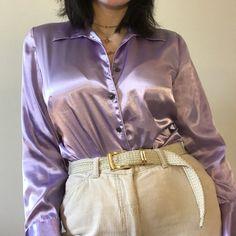 34e3bab1cd5 lavender silk button up Long Tops, Nice Tops, Button Up, Lavender, Leather
