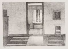 Veikko Vionoja Sisäkuva Korpelasta  1986 38 x 54,5 cm  grafiikka litografia  300,00 €