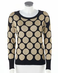 Metallic & polka-dot sweater #SteinMart