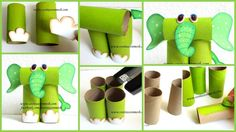 How to make elephant from rolls of toilet paper How about if we make a fun and cute elephant with rolls of toilet paper. I invite you to recycle at home , and do crafts with your kids that are easy and nice