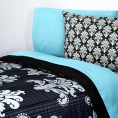 Aqua and Victorian #Damask- This 15-piece Value Pak is an ideal way to start your school year and support American jobs! Two complete changes of extra long linens, a complete cotton bath towel set, an extra long mattress pad, memory foam pad and reversible comforter to keep your student warm and comfy all year long.    $159.00
