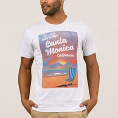 Santa Monica California vintage beach poster T-Shirt - retro clothing outfits vintage style custom