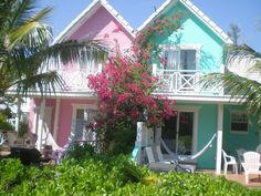 Key Lime Waterfront Cottage at DiamondsbytheSea Beachfront Property Vacation Rental in Grand Bahama Island from Beach Cottage Style, Beach Cottage Decor, Beach House, Key West Decor, Whatever Forever, Waterfront Cottage, Beachfront Property, Beach Bungalows, Pink Houses
