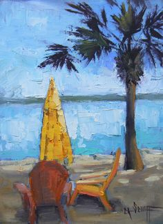 Daily Landscape Painting Tropical Umbrella and by CarolOnEdge, $99.95