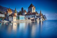 Oberhofen castle on the lake Thun, Switzerland