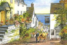 'Clovelly' Devon UK watercolour by Marianne Brand    Loved visiting here!