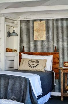 I love the galvanized metal wall! This would look fantastic in a boy's bedroom. Guest Cottage Room REVEAL {in an Old Farmhouse Shed} - Knick of Time Home Bedroom, Bedroom Decor, Bedroom Rustic, Shed Bedroom Ideas, Master Bedroom, Cottage Bedrooms, Rustic Room, Budget Bedroom, Bedroom Ceiling