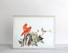 Vintage Bird Scene Handmade Artwork by LittleDogVintage on Etsy, $45.00