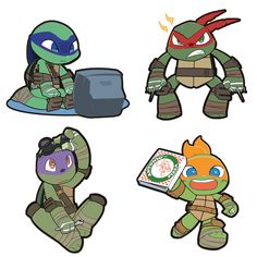 Tmnt 2012, Turtle Tots, Chibi, Teenage Ninja Turtles, Childhood Tv Shows, Girl Meets World, Disney Fan Art, Fandoms, Cute Photos