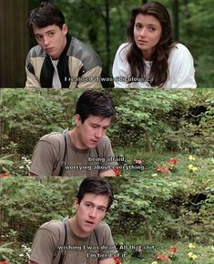 quotes Ferris Buellers Day Off. I think that by the end, Cameron may have become the true hero of the story, rather than Ferris. A lot like what happened in Dead Poets Society with Todd and Neil. 90s Movies, Iconic Movies, Great Movies, Amazing Movies, Cult Movies, Day Off Quotes, Film Quotes, Movies And Series, Movies And Tv Shows