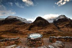 Three Sisters of Glencoe on vivid display, Highlands of Scotland.